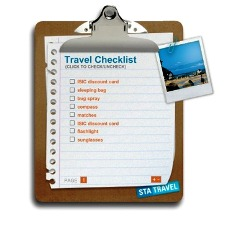 travel list for holidays