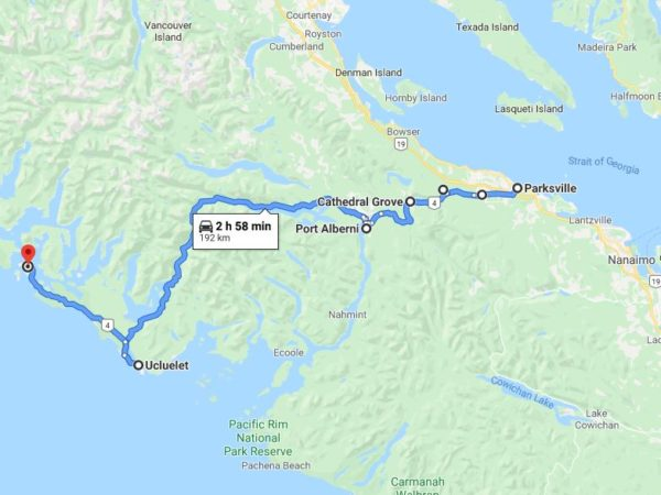 Parksville to Tofino Google Map